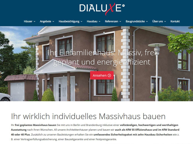 Webseite von DIALUXE Massivhaus der Online Marketing Agentur webamt.de