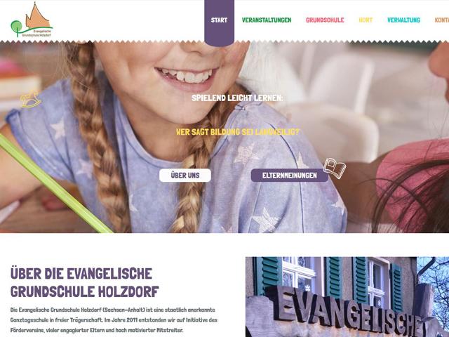 Webseite der Evangelischen Grundschule Holzdorf der Agentur webamt.de