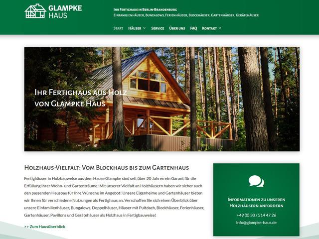 Webseite der Hausbaufirma Glampke Haus  der Agentur webamt.de