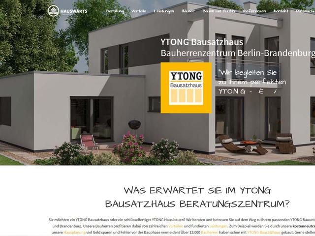 Webseite Bauherrenzentrum YTONG Bausatzhaus der Marketing Agentur webamt.de
