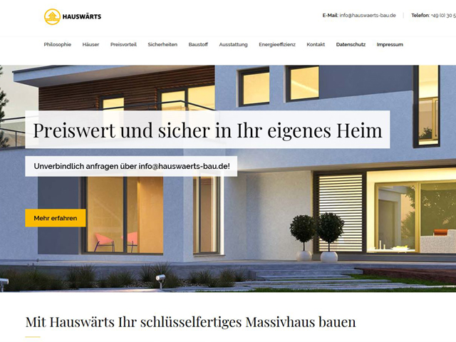 Webseite hauswaerts-bau.de der Marketing Agentur webamt.de