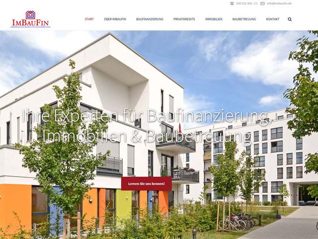 Webseite für die Baufinanzierung IMBAUFIN der Online Agentur webamt.de