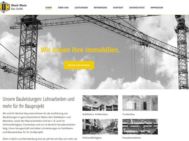 Webseite für das Bauunternehmen Munir Music  der Marketing Agentur webamt.de