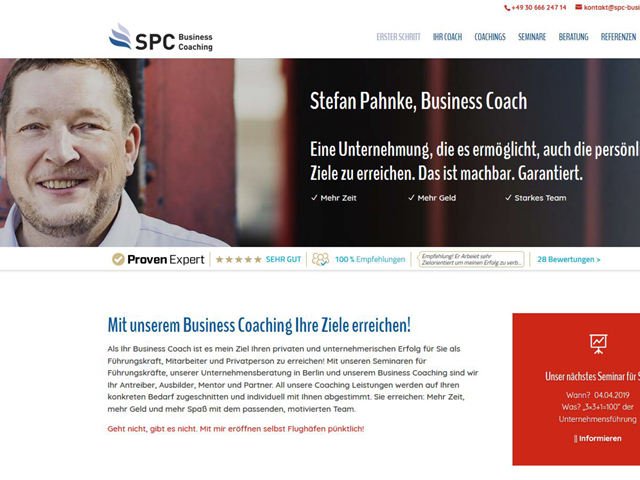 Webseite für SPC Business Coach  der Online Marketing Agentur webamt.de