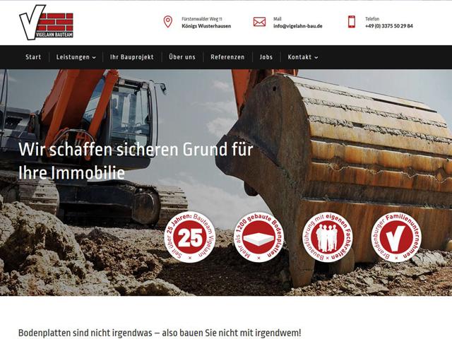Webpage des Bauunternehmens Vigelahn Bau der Agentur webamt.de
