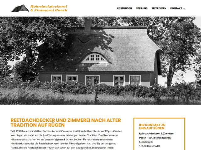 Webseite der Rohrdachdeckerei Rügen der Online Marketing Agentur webamt.de