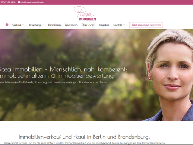 Webseite Rosa Immobilien der Online Marketing Agentur webamt.de