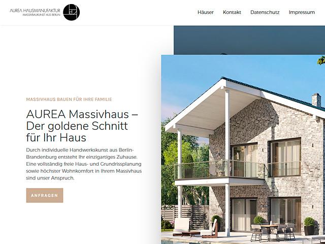 Webpage der AUREA Hausmanufaktur der Agentur webamt.de
