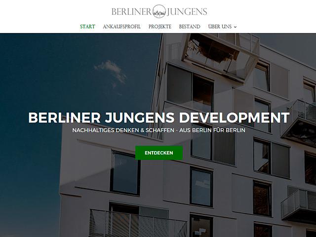Webpage der Berliner Jungens Development GmbH der Agentur webamt.de