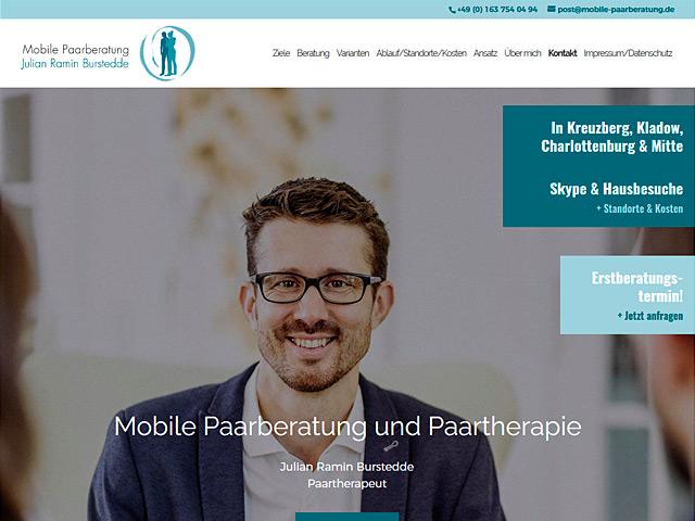 Webpage der Mobilen Paarberatung Berlin der Agentur webamt.de