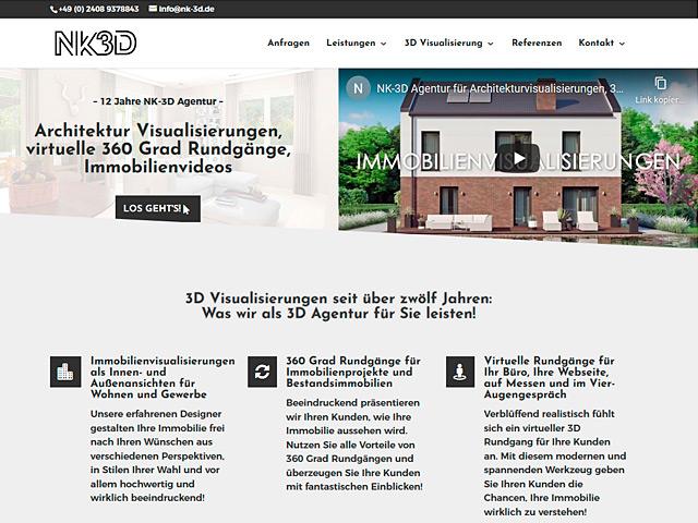 Webpage von NK-3D Architekturvisualisierungen der Agentur webamt.de
