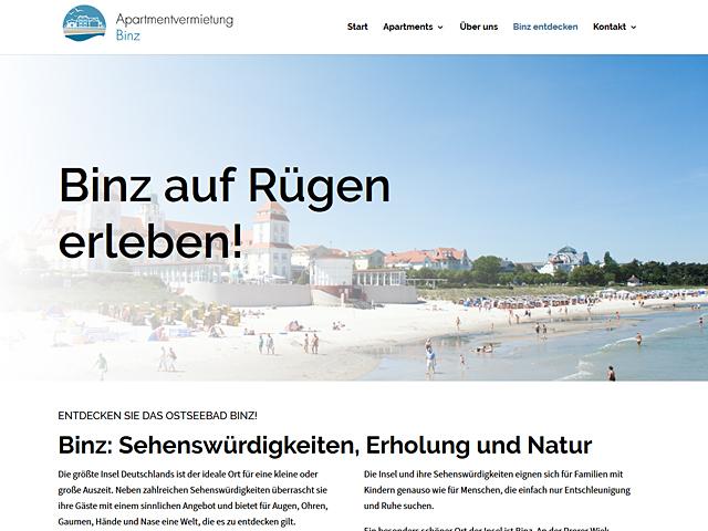 Webpage der Apartmentvermietung Binz der Agentur webamt.de
