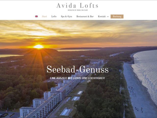 Webpage der Avida Lofts der Agentur webamt.de