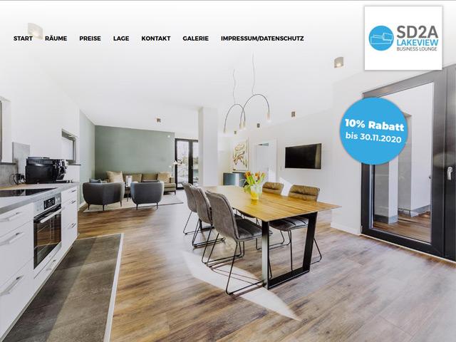 Webpage der SD2A Business Lounge der Agentur webamt.de
