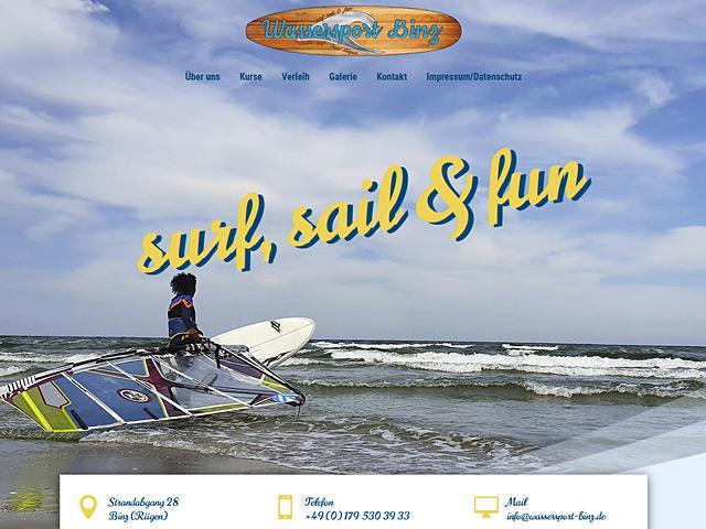 Webpage von Wassersport Binz der Agentur webamt.de