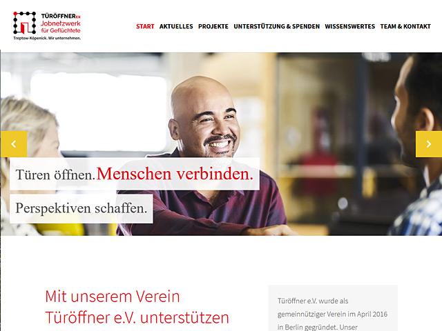 Webpage des Vereins Türöffner e.V. von der Agentur webamt.de