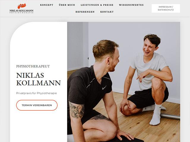 Webpage der Physiotherapie Kollmann von der Agentur webamt.de