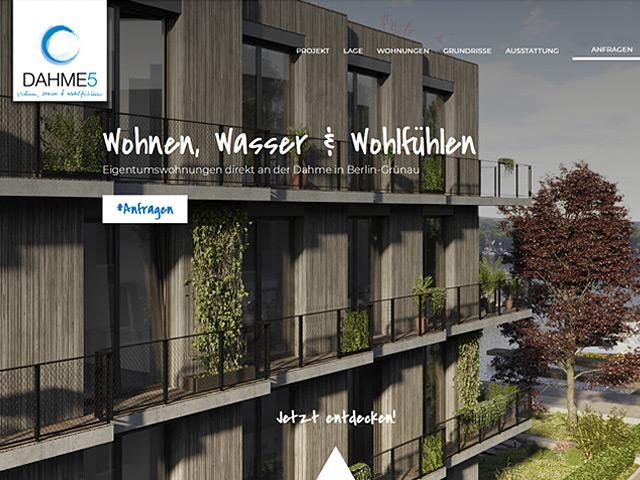 Webpage des Immobilienprojekts DAHME5 von der Agentur webamt.de