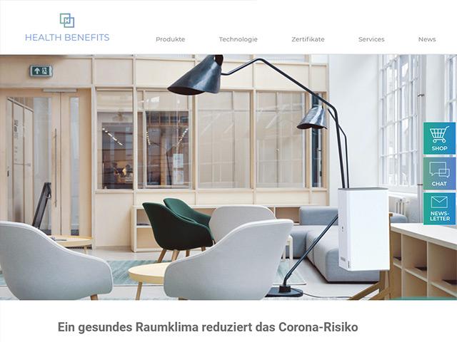 Webpage der Health Benefits AG von der Agentur webamt.de