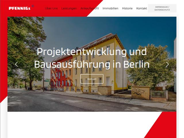 Webpage von Pfennigs Immobilien von der Agentur webamt.de