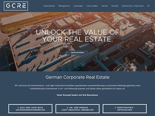 Webseite der German Corporate Real Estate von der Online Marketing Agentur webamt.de