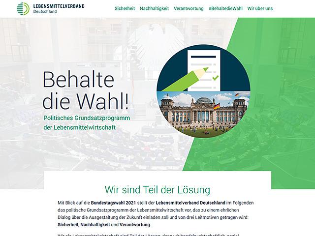 Webpage des Lebensmittelverbandes Deutschland von der Agentur webamt.de