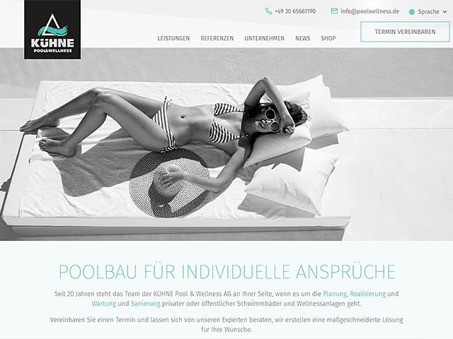Webseite der KÜHNE Pool & Wellness AG von der Online Marketing Agentur webamt.de