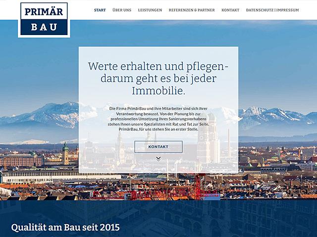 Webpage von PrimärBau von der Agentur webamt.de
