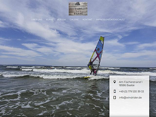 Webseite von Surf & Sail Baabe von der Online Marketing Agentur webamt.de