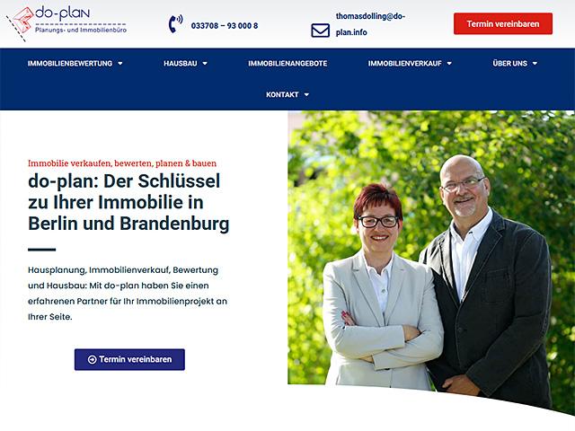 Webseite des do-plan Planungs- und Immobilienbüro von der Online Marketing Agentur webamt.de