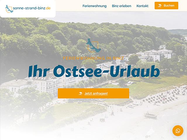 Webseite von Sommer-Sonne-Binz von der Online Marketing Agentur webamt.de
